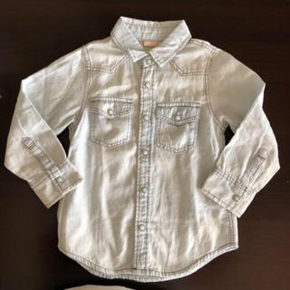 プティマイン(petit main)の子供服 petit main*インディゴ デニム シャツ 100cm(Tシャツ/カットソー)