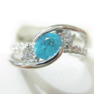 ブラジル産パライバトルマリン0.29ct★光輝くネオンブルー★Pt900製指輪(リング(指輪))