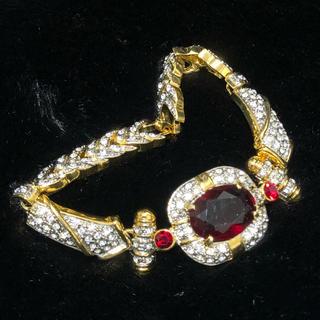 REDWING - ヴィンテージ ブレスレット レッド 宝石 キラキラ 60s 70s