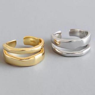 トゥデイフル(TODAYFUL)の二連デザインリング オープンリング シルバー完売 指輪 新品(リング(指輪))