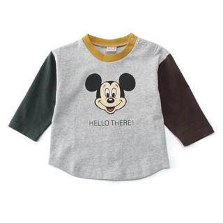プティマイン(petit main)の新品♡プティマイン 120 ミッキー 配色デザインリンガーTシャツ(Tシャツ/カットソー)