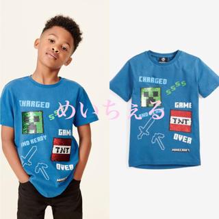 マイクロソフト(Microsoft)の【新品】ブルー Minecraft スパンコールチェンジTシャツ(オールド)(Tシャツ/カットソー)