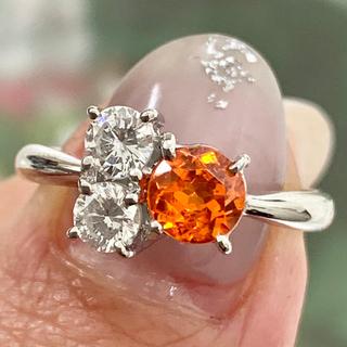 ★スペサルティン★ マンダリン ネオンカラー ガーネット ダイヤモンド リング(リング(指輪))