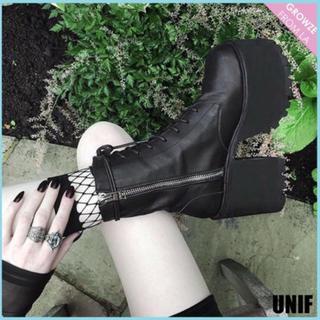 ユニフ(UNIF)のUNIF 厚底レースアップブーツ(ブーツ)