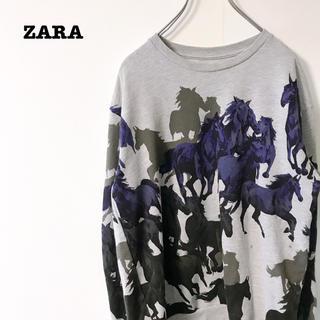 ZARA - ザラ スウェット アニマルプリント  総柄 裏起毛
