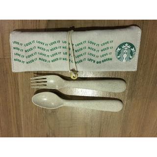 スターバックスコーヒー(Starbucks Coffee)のスタバ 海外 ペンケース・メイク入れ等 フォーク&スプーン(ロゴ入り)3点(日用品/生活雑貨)
