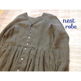 ネストローブ(nest Robe)のnest robe リネン ヘリンボーン ロングワンピース (ロングワンピース/マキシワンピース)