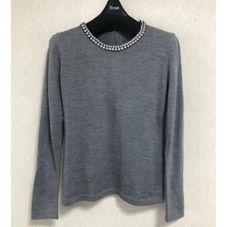 アナイ(ANAYI)のANAYI アナイ ビジュー付セーター 38 グレー 美品(ニット/セーター)