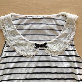 ノースリーブカットソー白黒ボーダーレース襟(カットソー(半袖/袖なし))