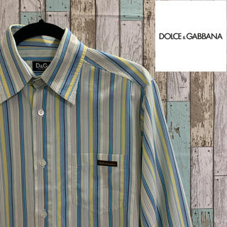 ドルチェアンドガッバーナ(DOLCE&GABBANA)の【大流行】D&G ストライプシャツ M ワンポイント ドルチェアンドガッバーナ(シャツ)