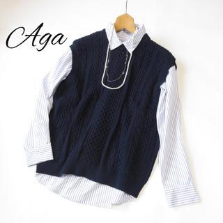 SCOT CLUB - Aga 【アーガ】ケーブルクルーネックニットベスト   ネイビー■スコットクラブ