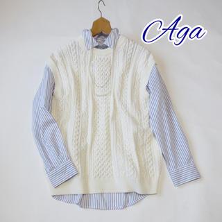 SCOT CLUB - Aga 【アーガ】ケーブルクルーネックニットベスト アイボリー■スコットクラブ