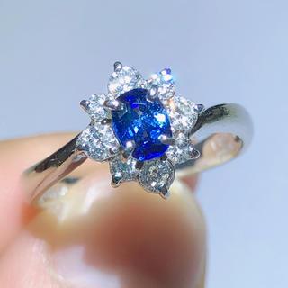 三越 MITSUKOSHI 濃いめ サファイア ダイヤモンドリング pt900(リング(指輪))