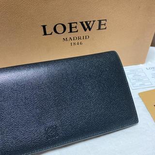 ロエベ(LOEWE)のロエベ LOEWE メンズ財布 長財布 ブラック 黒色 アナグラム柄 レザー(長財布)