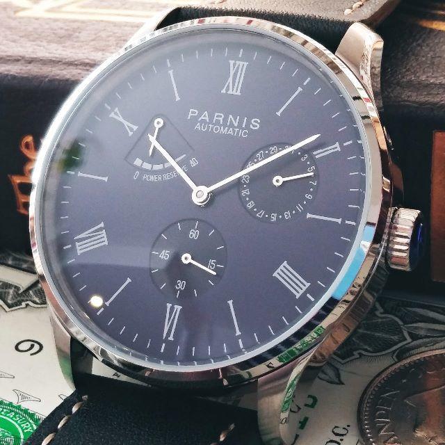 PARNISのビッグフェイス 自動巻き腕時計 パワーリザーブ メンズ腕時計の通販