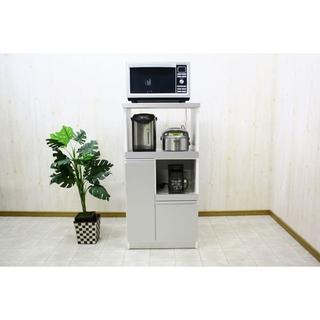 日本製 レンジ台(キッチン収納) 2型 幅60cm スライドレール/シルバー(銀(キッチン収納)