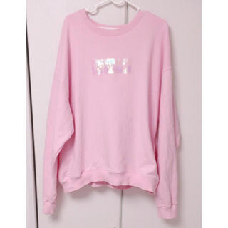 バブルス(Bubbles)の♡babypink オーロラボックスロゴスウェット トレーナー ピンク♡(トレーナー/スウェット)