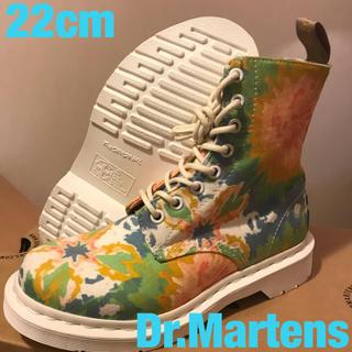 ドクターマーチン(Dr.Martens)のドクターマーチン キャンバス ホワイト 花柄 カラフル マルチカラー ブーツ(ブーツ)