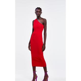 ZARA - ザラ ワンピース ワンショルダー 赤 ロング丈 クリスマスパーティーにも ドレス