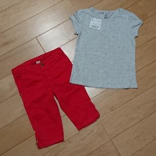ザラキッズ(ZARA KIDS)の新品ZARAザラ半袖Tシャツパンツ110女のコ上下セット(Tシャツ/カットソー)