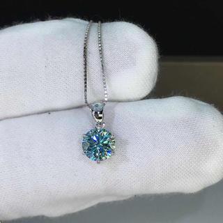 【newデザイン】輝くブルーモアサナイト ダイヤモンド ネックレス  k18WG(リング(指輪))