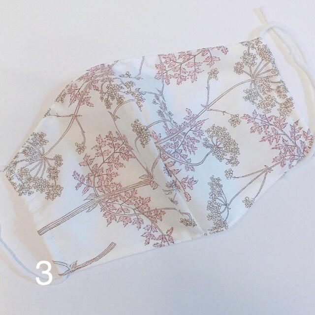 3白色リバティ♡白ガーゼ 布マスクの通販