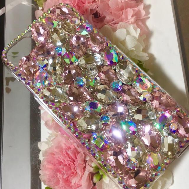 キラキラガラスビジュースワロフスキーiPhoneケースカバースマホ ピンクの通販