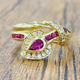 ⭐️ルビーが煌めく⭐️ ルビー ダイヤモンド❣️ダイヤ K18 リング 指輪(リング(指輪))