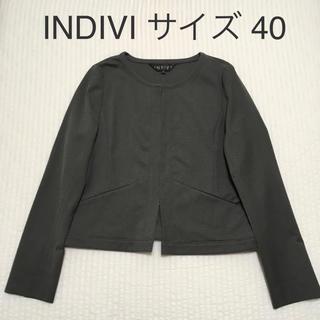 インディヴィ(INDIVI)のINDIVI* ノーカラージャケット 40 ストレッチ グレー 手洗い 美品!(ノーカラージャケット)