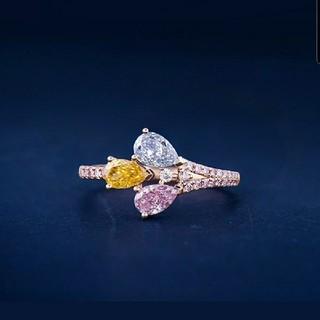 GIA 素敵なブルー×イエロー×ピンクダイヤモンドリング(リング(指輪))