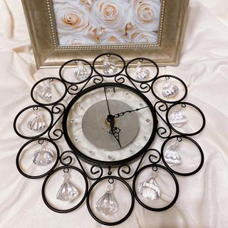 フランフラン(Francfranc)の美品 シャンデリア風 掛け時計 ブラック キラキラ(掛時計/柱時計)