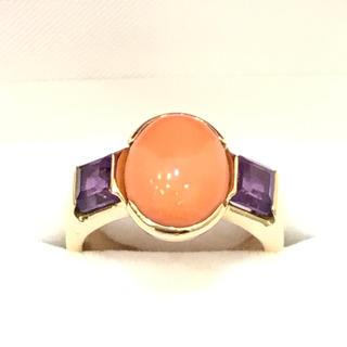 5400 ピンク珊瑚 アメジスト 18金 YGK18 リング 14号(リング(指輪))
