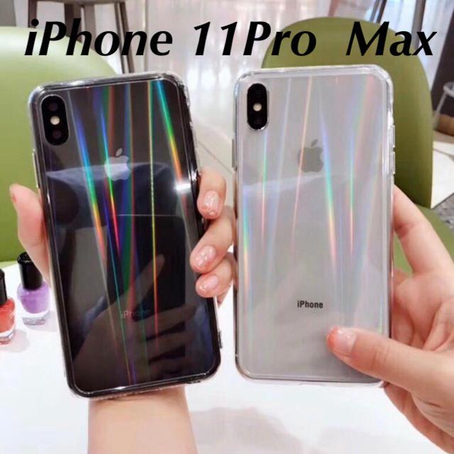 iphone 11 ケース 米軍 、 iPhone11ProMax ホログラムクリアケース iPhoneカバーの通販 by みけねこ|ラクマ