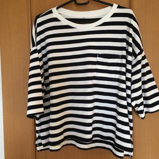 しまむら - しまむら オーガニック ネイビーボーダーTシャツ 7分丈 3L