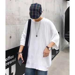 neos  半袖ニット ホワイト / MEDIUM(ニット/セーター)