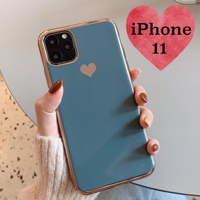 ヴィトン iphonexケース コピー - ♦︎iPhone11用♦︎ ブルーグレー ハート メッキ風 iPhoneケースの通販 by はむはむ's shop|ラクマ