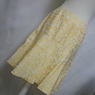 アンタイトル(UNTITLED)の新品未使用 アンタイトル レオパード柄が素敵なフレアスカート イエロー サイズ3(ひざ丈スカート)
