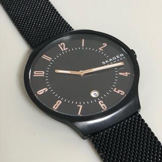 スカーゲン(SKAGEN)のSKAGEN ブラックスチールメッシュウォッチ(腕時計(アナログ))