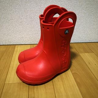 crocs - 赤クロックスレインブーツ19cm crocs長靴 レッド