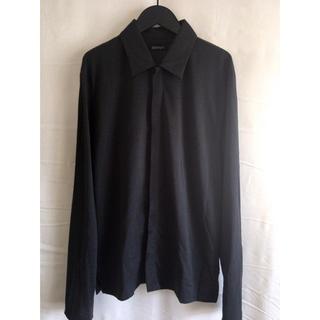 ダナキャランニューヨーク(DKNY)の【モードフルオープン】 DKNY ニットポロシャツ 比翼仕立て ブラック 黒 M(シャツ)