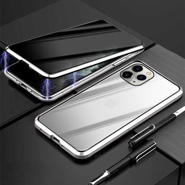 iPhone11 磁力 保護ケース 強力両面ガラス シルバーの通販 by chietty's shop|ラクマ