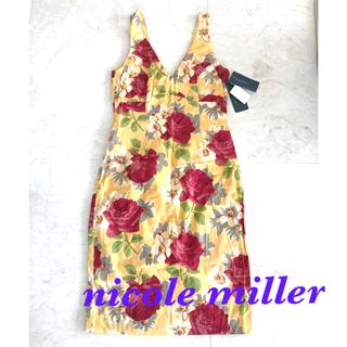 ニコルミラー(Nicole Miller)の再値下げ 新品 タグ付き ニコルミラー 花柄 ワンピース 黄色 イエロー(ひざ丈ワンピース)