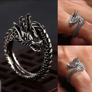 新デザインレトロシルバードラゴンリング男性.女性ファッション指開口リング(リング(指輪))