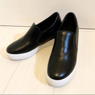 アディダス(adidas)の美品 インヒール スリッポン 黒 ブラック 24(スリッポン/モカシン)