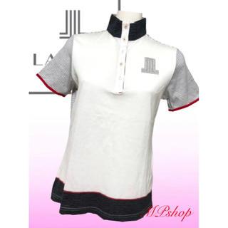 ランバン(LANVIN)の美品♡ランバンスポーツ LANVIN ボーダー  ハイネック 半袖  ポロシャツ(ウエア)