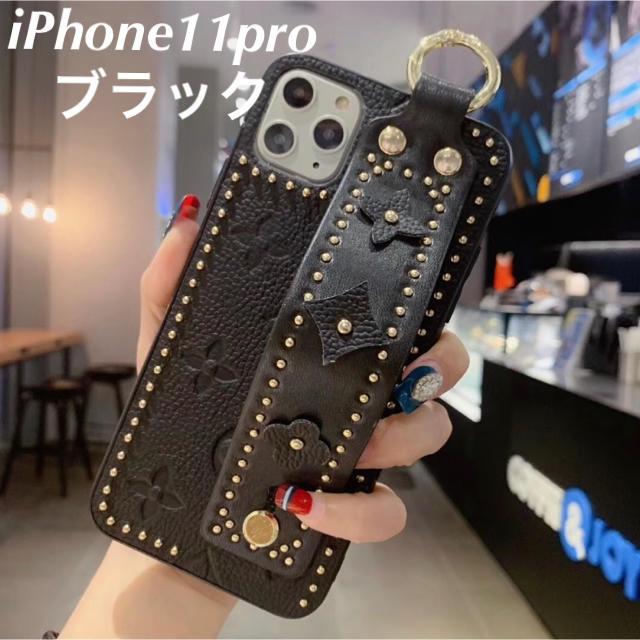 iphone 11 ケース クリアケース 、 【iPhone11pro ブラック】花柄 スマホケースの通販 by COCO|ラクマ