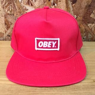 オベイ(OBEY)の新品 OBEY オベイ ロゴ スナップバック キャップ レッド(キャップ)