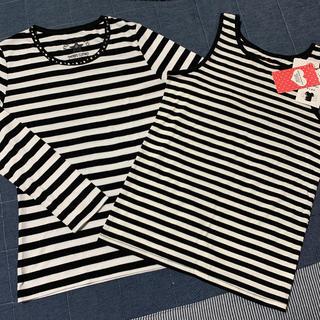 レピピアルマリオ(repipi armario)のrepipi armario ボーダー 新品タンクトップM キラキラ長TS 2点(Tシャツ(長袖/七分))