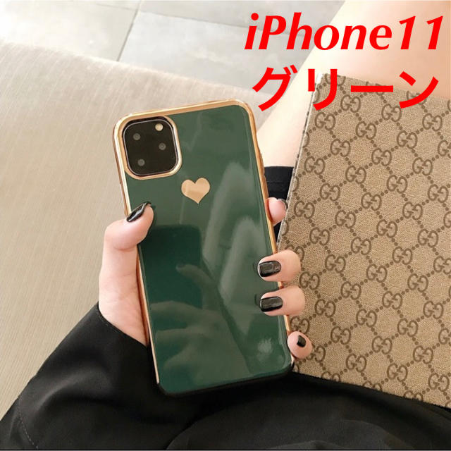 ヴィトン iphone7plus ケース レディース / 【iPhone11 グリーン】スマホケース メッキ風 ハートの通販 by COCO|ラクマ