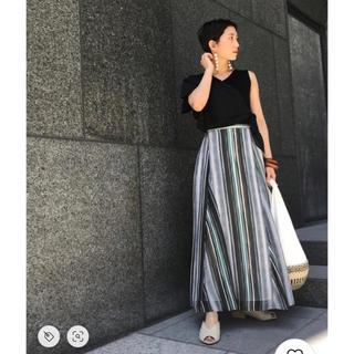 ラグナムーン(LagunaMoon)のラグナムーン♡シアーラグストライプフレアマキシスカート (ロングスカート)